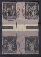 Sage N°103b : Type III + II, 2 Paires Oblitérées Formant Bloc De 4. - 1898-1900 Sage (Type III)
