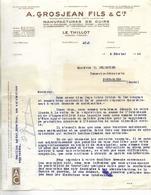 Facture + Enveloppe 1940 / Militaria / 88 LE THILLOT / Grosjean Manufacture Cuir / Pb Approvisionnement Cuir - Documents