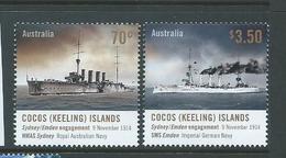 Cocos Keeling Island 2014 Sea Battle Anniversary Set Of 2 MNH - Cocos (Keeling) Islands