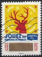 France 2018 Oblitéré Used Timbre à Gratter N° 12 Voeux Tête De Renne Y&T 1652 - France