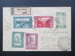 Österreich / Bosnien 1917 Ganzsache P20 Mit 4 Zusatzfrankaturen Einschreiben R Bos. Brod Nach Hirschberg Schlesien - Bosnien-Herzegowina