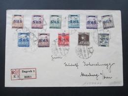 Jugoslawien / Kroatien 11 Marken Mit Aufdruck SHS Hrvatska Einschreiben R Zagreb 1 Ajanlote Preporuceno - 1919-1929 Kingdom Of Serbs, Croats And Slovenes