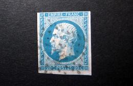FRANCE 1854 N°14I OBL. (NAPOLÉON III. SECOND EMPIRE. 20C BLEU. LÉGENDE EMPIRE FRANC. NON DENTELÉ. TYPE I) - 1853-1860 Napoleon III
