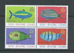 Cocos Keeling Island 2001 Fish Definitives 45c Block Of 4 MNH - Cocos (Keeling) Islands