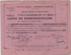 Carte De Permissionnaire De Chasse Au Gibier D'Eau 1950 - Documentos Históricos