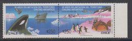 Chile 1990 Antarctica / Treaty / Penguins / Whale 2v Se Tenant ** Mnh (40979C) - Chili