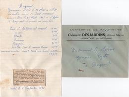 Lettre De Devis De L'Entreprise De Maçonnerie 1958 - Documents Historiques