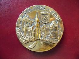 Ancienne Médaille De Table Bronze Ville De VULAINES Sur Seine Signée Pichard - Other
