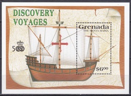 Grenada 1991 Geschichte History Entdeckungen Discovery Amerika Kolumbus Columbus Schiffe Ships Santa Maria, Bl. 273 ** - Grenada (1974-...)