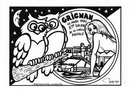 OISEAUX - CHOUETTE -  2 CHOUETTES ET UNE FEMME AUX SEINS NUS - GRIGNAN SALON DE LA CARTE POSTALE - CPM - VIERGE - - Oiseaux