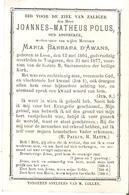 Faire-part Heer Joannes-Matheus POLUS - Maria Barbara D'AWANS Tongeren 31/5/1877 - Décès