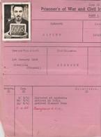 Foglio Di Storia Dei Prigionieri Di Guerra E Degli Internati Civili - Documenti