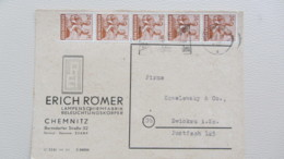 SBZ-10fach: Fern-Karte Mit Kontrollrat II 24 (5) Pf. Arbeiter MWSt. Chemnitz 29.7.48 -Firmenbedarf-  Knr: 951 ZF 2b) - Zone Soviétique