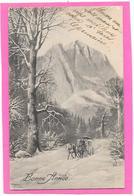 DILIGENCE, Montagne, Neige - Illustration P.T.L ART DE. VIENNE - Cartes Postales