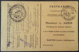 CP Accusé-réception De COLIS OEUVRE DE SECOURS NANTES Prisonnier De Guerre 153e Infanterie Darmstadt Oct 1918 - Marcophilie (Lettres)