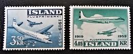 40 ANS DE L'AVIATION ISLANDAISE 1959 - NEUFS ** - YT PA 30/31 - MI 333/34 - 1944-... Republik