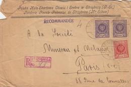 LETTRE. COVER. POLAND TO FRANCE. 1924. REGISTERED. FONDERIE FISCALE POLONAISE DE STRZYBNICA HAUTE SILESIE - Non Classés