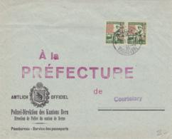 Pro Juventute No J 42 : Paire Verticale Sur Lettre De  La Police De Bern, à Destination De La Préfecture De Courtelary - Covers & Documents