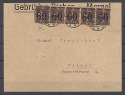 Memel, Brief 1922 Mit 5 X 60 Pfg. Fünferstreifen MeF Memel Nach Tilsit (26028) - Memel (Klaïpeda)