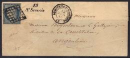 Cursive 15/St Severin (Charente) Sur LSC, Cérès N°4 Grille, Càd 15 Aubeterre-s-Dronne, 1850, Signé Baudot, Indice 20. - 1849-1876: Période Classique