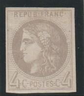 YT 41B (*) 4c Gris, Frais, TB - 1870 Bordeaux Printing