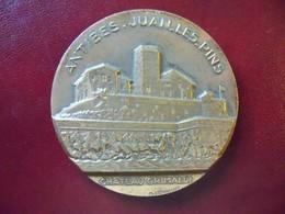 Médaille De Table Bronze CHATEAU GRIMALDI Ville De ANTIBES JUAN LES PINS Signée M LEOGNANY - Otros