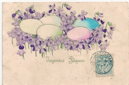 Cpa Fantaisie Gaufrée Joyeuses Paques - Pascua