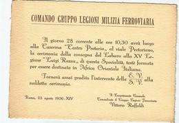 MILIZIA FERROVIARIA-INVITO A CELEBRAZIONE CONSEGNA LABARO- 1936 - Militari