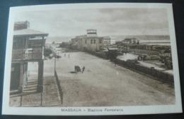 RARE POSTALCARD OF THE RAILWAY STATION  OF MASSAUA  /.RARA CARTOLINA DELLA STAZIONE FERROVIARIA DI MASSAUA. - Erythrée