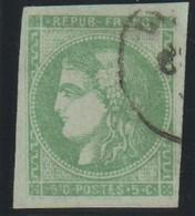 YT 42B Obl 5c Vert-jaune, Report 2, TB - 1870 Bordeaux Printing