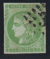 YT 42B Obl 5c Vert-jaune, Report 2, B - 1870 Emission De Bordeaux