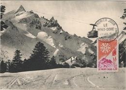 FDC23 - FRANCE N° 1306 Sur Carte Maximum Mont Dore 1961 - Cartes-Maximum