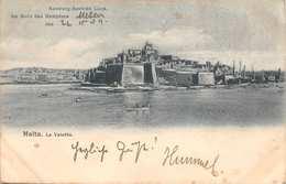MALTA LA VALETTA-1907 POSTMARK-HAMBURG-AMEIKE LINIE-AM BORD DAMPFERE MENES POSTCARD 39614 - Malte