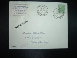 LETTRE TP CERES DE MAZELIN 2F OBL.16-9 47 TENDE ALPES MARITIMES (06) Vignette RATTACHEMENT DE TENDE A LA FRANCE - Marcophilie (Lettres)