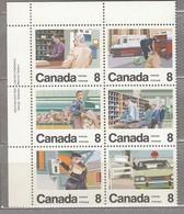 CANADA 1974 Post Service Blockx6 Corner MNH(**) Mi 560-565 #23969 - 1952-.... Règne D'Elizabeth II