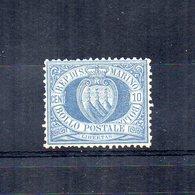 San Marino - 1890 - Stemma - 10 Centesimi - Azzurro - Nuovo **  - (FDC14514) - Nuovi