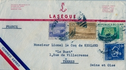 CUBA , SOBRE CIRCULADO , HABANA - YERRES , FR. TUBERCULOSOS , AVIÓN EN VUELO , AJEDREZ - Cuba