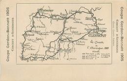 COUPE GORDON BENNETT - 1905 - CARTE DU CIRCUIT D' AUVERGNE - COURSE AUTOMOBILE - France