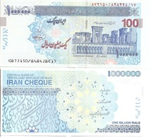 Iran - 1000000 Rials 2002 - 2018 UNC Cheque Blue Lemberg-Zp - Iran