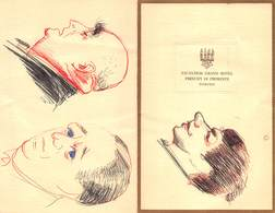 "0968 ""MENU-TORINO-G.HTL PRINCIPE DI PIEMONTE-CARICATURE IN INCHIOSTRO BLU.. DI RICCARDO CHICCO-PITTORE TORINO 1910/1973"" - Menus"