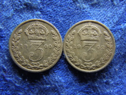 GREAT BRITAIN 3 PENCE 1900 KM777, 1902 KM797.1 - 1816-1901 : Frappes XIX° S.