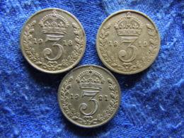 GREAT BRITAIN 3 PENCE 1918, 1919 KM813, 1921 KM813a - Sonstige
