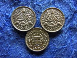 GREAT BRITAIN 3 PENCE 1935, 1936 KM831, 1937 KM848 - 1902-1971 : Monnaies Post-Victoriennes