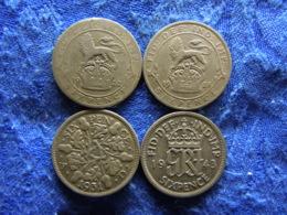GREAT BRITAIN 6 PENCE 1920, 1921 KM815a.1, 1931 KM832, 1943 KM852 - 1902-1971 : Monnaies Post-Victoriennes
