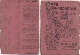 Carte Confédérale 1945 : Fédération Des Ouvriers Des Métaux - Historische Dokumente