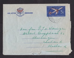 South Africa: Stationery Aerogramme To Netherlands, 1964, Airplane, Flower, Air Letter (damaged) - Zuid-Afrika (1961-...)