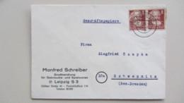 SBZ: Fern-Brief GP Mit 8 Pfg Köpfe I Karl Marx Im Waager. Paar Aus Leipzig S 15 Nach Schwepnitz Vom 2.6.50 Knr: 214 (2) - Zone Soviétique