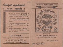 Carte Confédérale 1947 : Fédération De L'Économie Nationale - Historical Documents