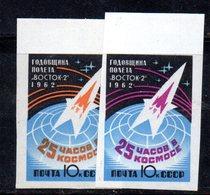 XP4163 - RUSSIA URSS 1962 , Unificato Serie  NON Dentellata N.  2545/2546  ***  MNH  Titov - 1923-1991 URSS
