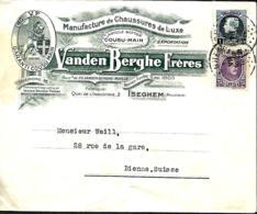 Belgique. TP 198 + 215  L.  Izegem > Bienne  Suisse   1928   Pli - 1922-1927 Houyoux